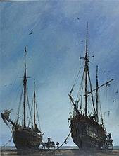 * Anthony AMOS (1950-2010), Oil on board, 'Unloading the boats' - beached f