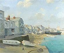 * Huge E. RIDGE (1899-1976), Oil on canvas, 'The Wharf St Ives', Inscribed