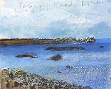 * Kurt JACKSON (b.1961), Acrylic on board, Penninis Head Lighthouse Burning