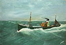 W* THOMAS, Oil on board, The steam trawler TEKOURA LO14, Signed, 28