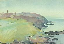 * Mary STORK (1938-2007), Watercolour / gouache, Cornish coast 'from Pendee