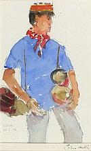 *John MILLER (1931-2002), Gouache, Drum Seller, Colva Beach, Goa, Inscribed