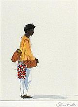 * John MILLER (1931-2002), Gouache, 'Drum Seller India', Inscribed Artist's