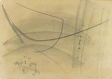 * John WELLS (1907-2000), Pencil drawing, Untitled abstract, Inscribed 81/1