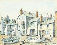 * Hugh E. RIDGE (1899-1976), Watercolour & ink, Wharfside & slip St Ives, S