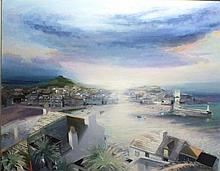 * David ANDREW (b. 1934), Oil on canvas, 'St Ives Panorama', Inscribed on l