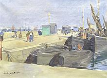* Stanhope A. FORBES (1857-1947), Oil on canvas, Newlyn Harbour, Signed, 14