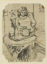 * John JONES (1926-2010), Ink drawing on graph paper, Study of the artist's
