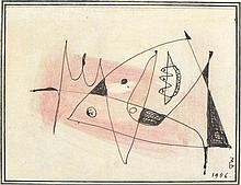 * John WELLS (1907-2000), Black ink & wash drawing, Untitled abstract, Sign