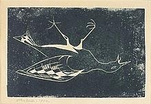 * John WELLS (1907-2000), Etching on paper, Dead bird, Signed & dated 1950