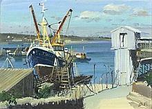 * Bernard EVANS (1929-2014), Oil on canvas, 'Newlyn Slip', Inscribed, signe