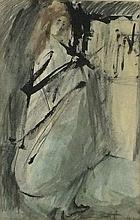 D* W* BURNELL, Gouache on paper, Standing female wrapped in sheet, Signed