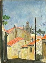 Henri BORRELLY, Oil on canvas, Continental village & church, Signed, Unfram