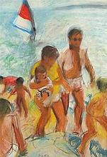 Joan RILEY (1920-2015), Pastel, 'Summer Day Marazion' - family on the beach