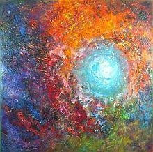 Joan RILEY (1920-2015), Oil on board, 'Apocalypse', Inscribed, signed & dat