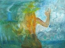Joan RILEY (1920-2015), Oil on board, 'Naiad', Inscribed & dated (19)95 to