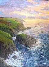 Richard WOOD (b.1950), Oil on canvas, Evening light the cliffs at Pendeen,