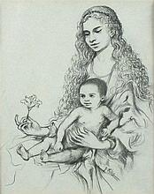 Joan RILEY (1920-2015), Pen & Indian ink drawing, Mother & child, Signed, 9