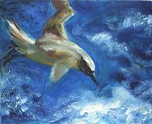 Joan RILEY (1920-2015), Oil on canvas, Diving Sea Bird, Unsigned, Unframed,