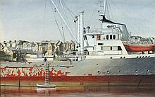 Cecil RILEY (1917-2015), Acrylic on paper, 'In Dock Penzance', Signed & dat
