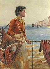 Newlyn School, Watercolour, Woman with a caul beside the harbour railings,