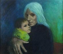 Joan RILEY (1920-2015), Oil on board, 'Mother & Child', Inscribed & signed,