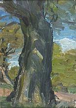 * Lucy HARWOOD (1893-1972), Oil on board, Tree Study, Signed to verso, 9.5