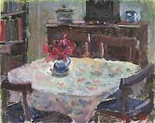 * Prue SAPP (1928-2013), Oil on board, The dining room, Signed, Unframed, 8