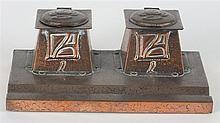 A. J. & F. Pool (Hayle), Copper Ink Stand with hinged lidded ink wells & re