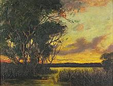 J* HAMPSHIRE (Exhibited 1903-1919), Oil on canvas board, Sunset across the