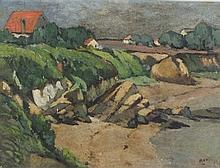 A*--- P----, (20th Century French School), Oil on canvas, Country cottages