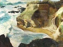 Joan RILEY (1920-2015), Oil on board, 'Gwithian Rocks' - breaking surf, Ins