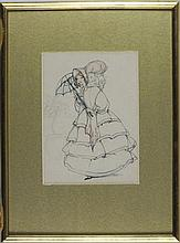 ? COTE, Three Ink & wash, Costume designs, One signed, 6.5