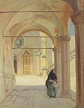 * Frank Owen SALISBURY (1874-1962), Oil on canvas board, Elderly woman in t