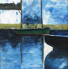 * Gordon COUCH (b.1944), Oil on board, Green hulled boat alongside, Signed