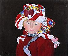 J* SMITH, Oil on canvas, Portrait of a young gypsy girl, Signed, Unframed,