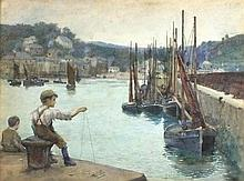 Henry Meynell RHEAM (1859-1920), Watercolour, Little boy fishing from the q