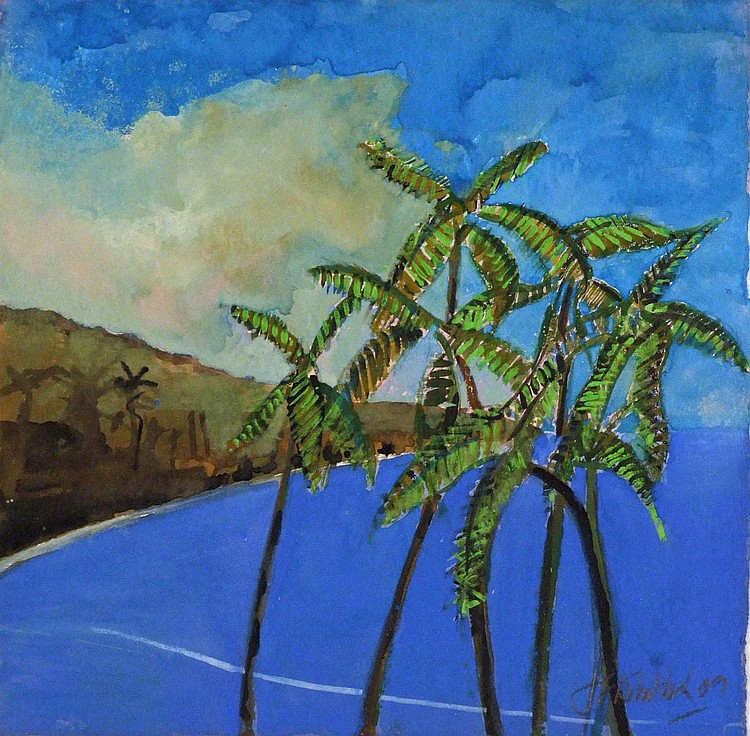 Jim F. WHITLOCK (b. 1944) Gouache 'Cobalt Sea and