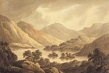 "Attributed to Frederick WATTS (1800-1862)  Watercolour  Mountain lake  Unsigned  7.25"" x 10.5"" (18.4cm x 26.7cm) GBP"
