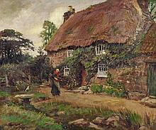"""* Stanhope A. FORBES(1857-1947) Oil on canvas The Cottage – woman gathering sticks before a Cornish cottage Signed & dated 1914 19.5"""" x 23.5"""" (49.5cm x 59.7cm) Note: possibly the painting listed in the artist's sales inventory as sold in 1916"""