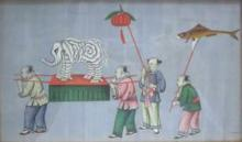 A Canton watercolour painting on pith paper, depicting children playing, 20th century