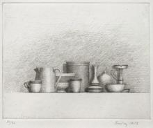 Still Life by William H. Bailey, 1983 Etching on handmade paper, framed