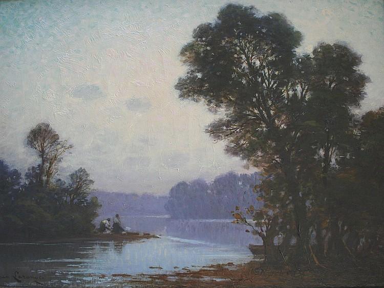 JEAN LARONZE (1852-1937) RIVER LANDSCAPE,
