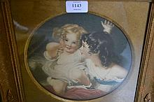 19th Century circular mounted mezzotint portrait