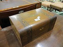 Victorian walnut parquetry inlaid work box
