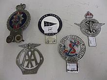 Five various Motoring Organisation badges