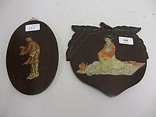 Two carved hardwood soapstone inlaid wall plaques decorated with figures of geishas