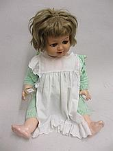 Mid 20th Century celluloid headed doll with jointed composition body, the head marked K. and R.