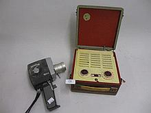 Vidor transistor radio in travel case together with a Jelco hand held camera with lenses etc