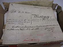 Box containing a quantity of various deeds including two on vellum, box containing a quantity of various albums of photographs, prints and telegrams etc